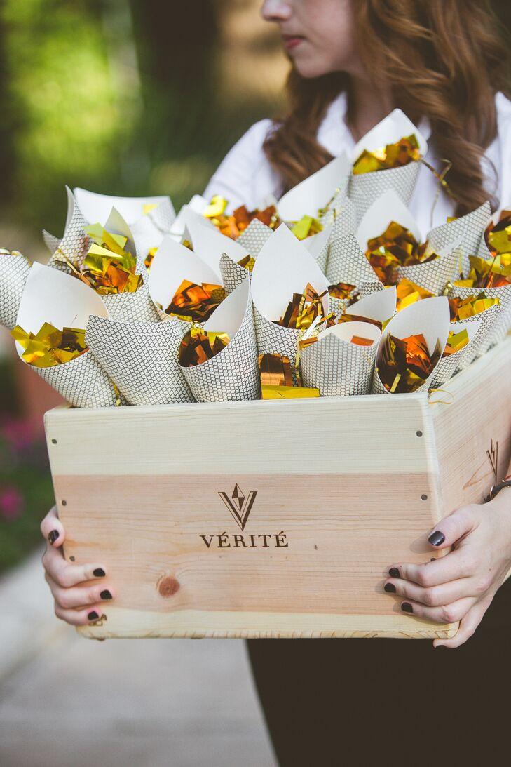 Gold Confetti for Austin, Texas Wedding Grand Exit