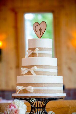 Burlap-Adorned Three-Tier Cake