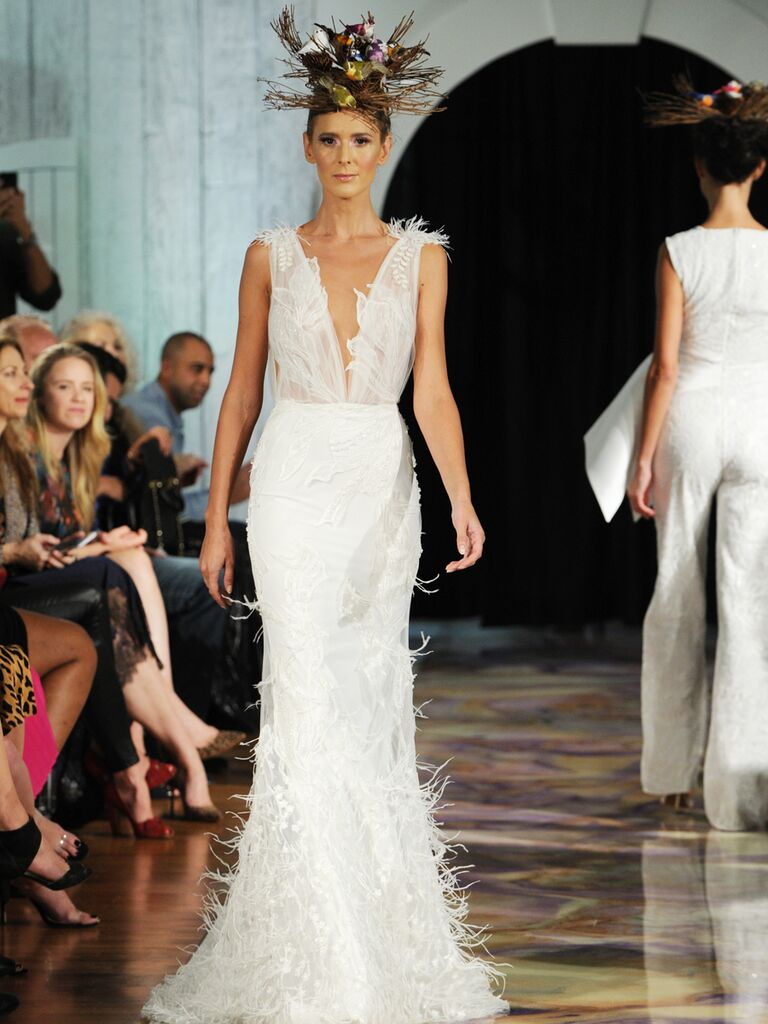 Dany Mizrachi Fall 2019 plunging neckline wedding dress with feathers