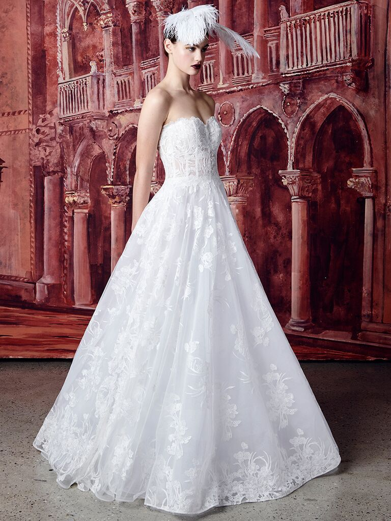 Isabelle Armstrong lace ballgown with bustier bodice