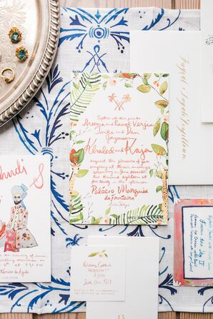 Whimsical and Colorful Wedding Invitations with Watercolor Leaves