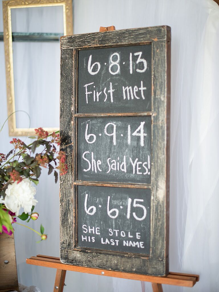 Chalkboard wedding sign with the couple's relationship timeline