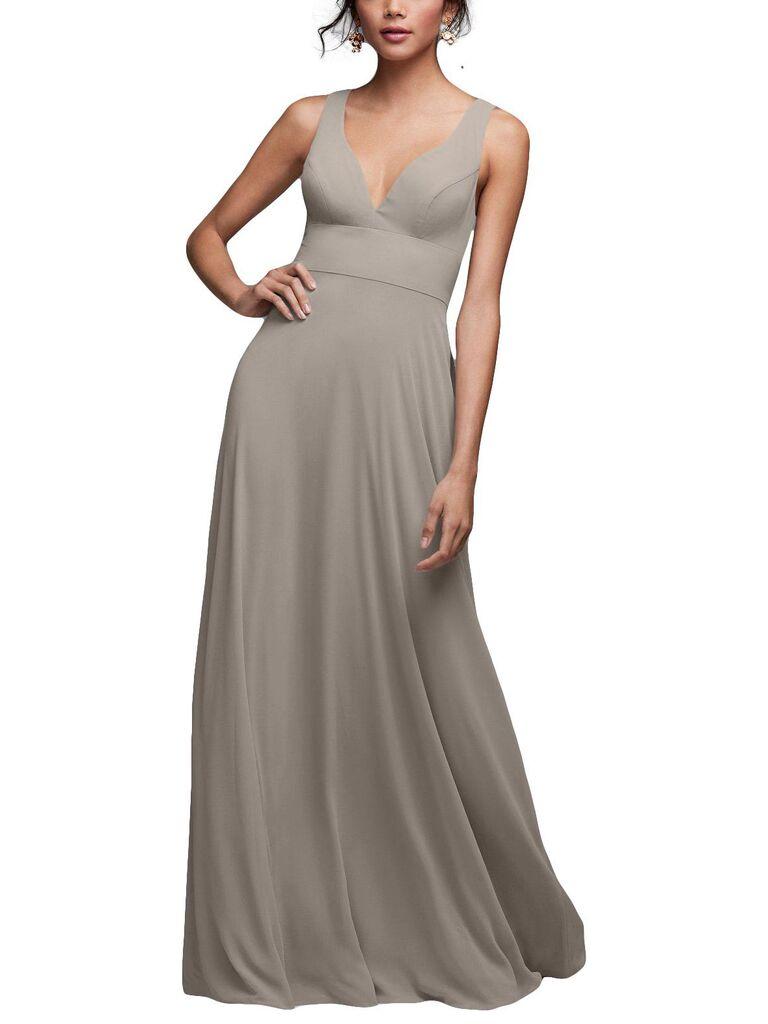 Long light gray bridesmaid dress