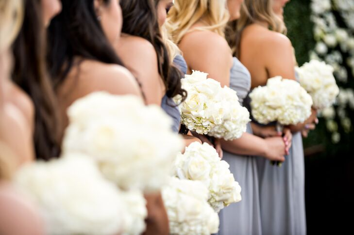 Gray Floor-Length Bridesmaid Dresses With White Hydrangea Bouquets