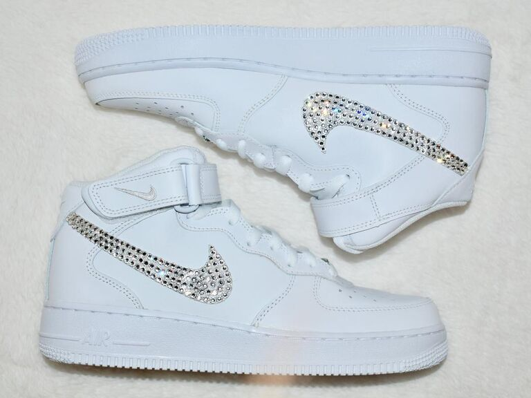 White Nike Air Force Ones with Swarovski-studded swooshes