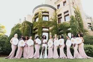 Glam Bridesmaids in Pink Dresses with White Fan Bouquets