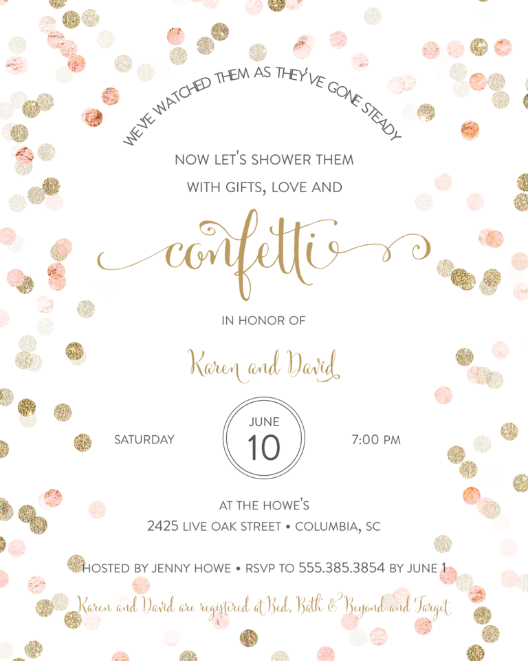 Vintage Wedding Shower Invitation Wording