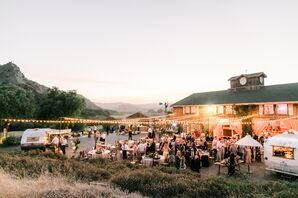 The Holland Ranch Reception Space Decorated with String Lights
