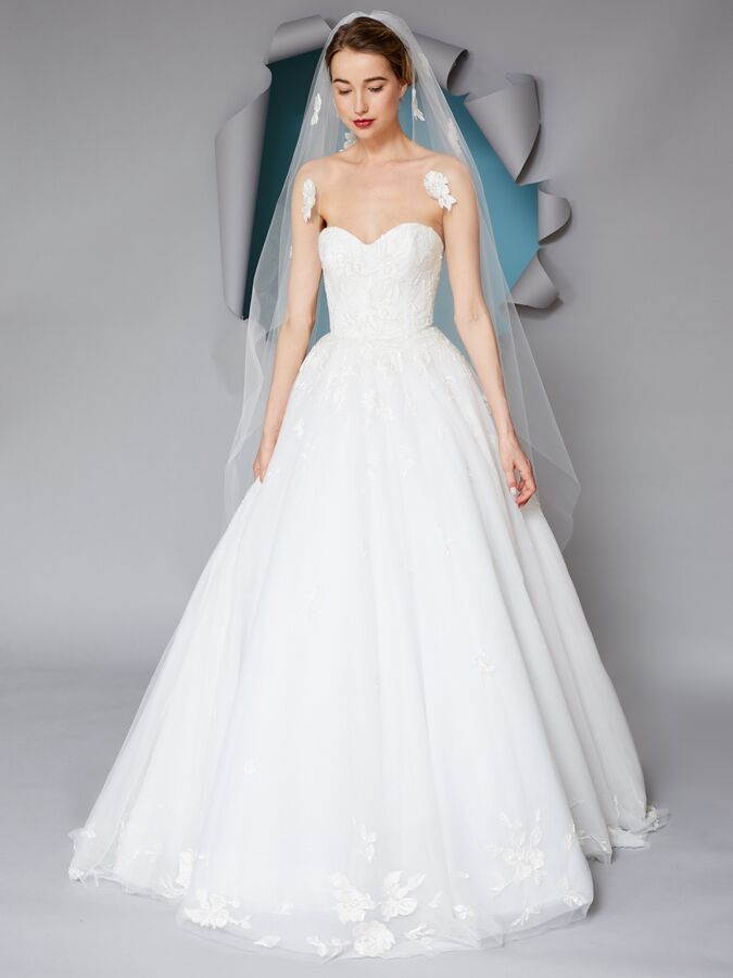 Gracy Accad strapless embroidered ball gown