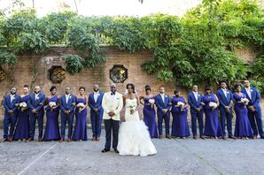 African-American Wedding Party in Royal Blue Attire