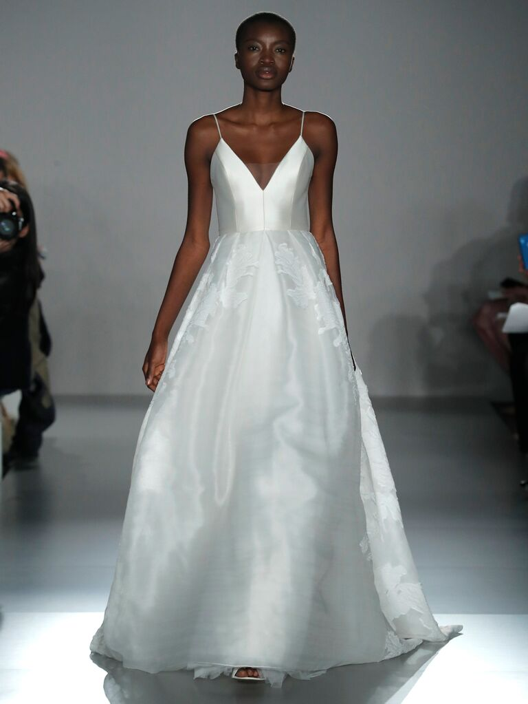 Amsale Spring 2020 Bridal Collection A-line wedding dress with a V-neckline and spaghetti straps