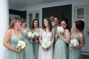 Mismatched Dusty Shale J.Crew Bridesmaid Dresses