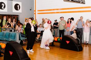 Brides Bowling at Casual Reception