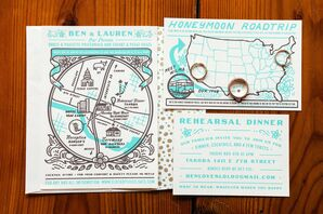 Eclectic Bright Blue Invitation Suite