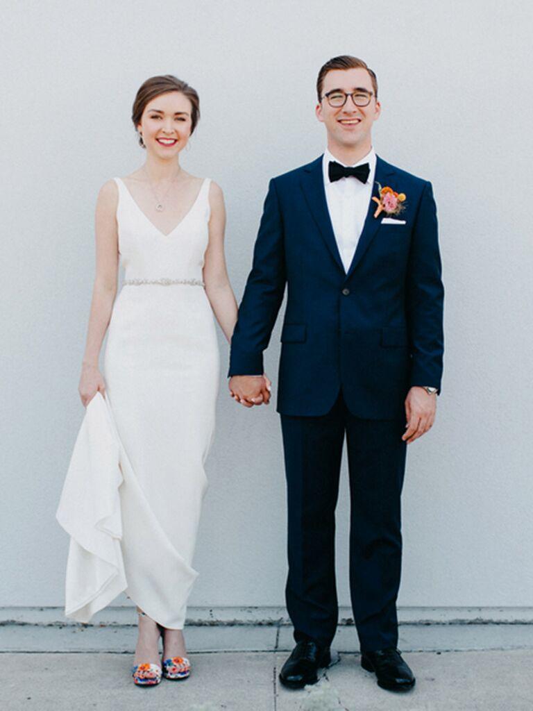 Classic wedding dress with elegant V-neckline