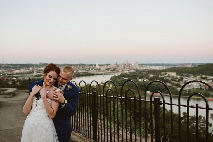 Kayla Blanton and Matt Lansdale eloped on a Thursday evening with five guests and a view of the Cincinnati skyline. They got ready in separate spaces