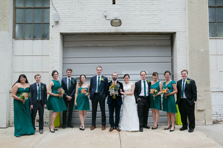 """Laura had four bridesmaids and one man of honor, her brother, standing by her side on the day of the wedding. When deciding on a look for the women, Laura chose a range of deep green colors she liked and asked them to find a dress of their choosing in a similar hue. """"They took it from there and after several of them found dresses at J.Crew that they liked, they all decided to buy their dresses there, all in the same color, but in different styles,"""" Laura says. To complete their look, they wore gold beaded knot earrings and simple bracelets that Laura found on Etsy. Daniel's """"best woman,"""" his sister, coordinated with the bridesmaids."""