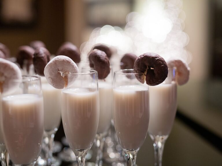 winter wedding ideas doughnuts and milk