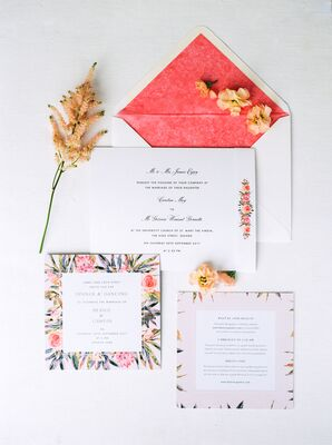Bespoke Floral Invitations with Vibrant Pink Envelope Liner