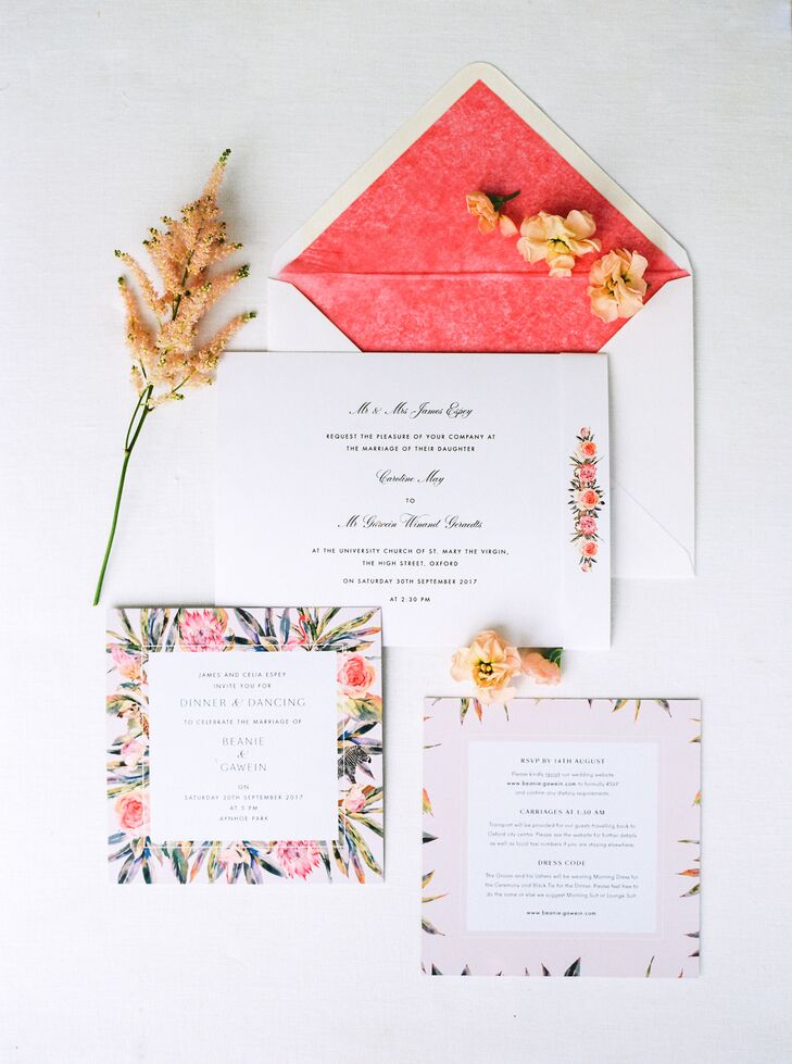 Bespoke Floral Invitations with Vibrant Pink Envelope Liner