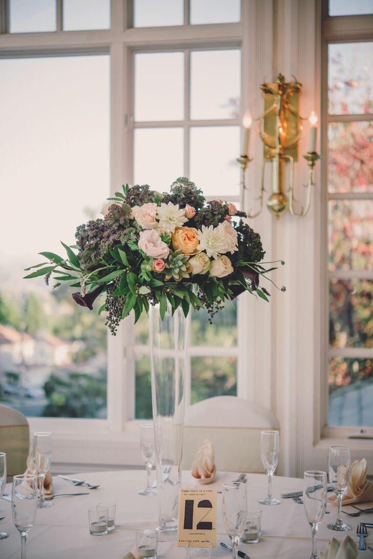 Tall Flower Centerpiece In Glass Vase