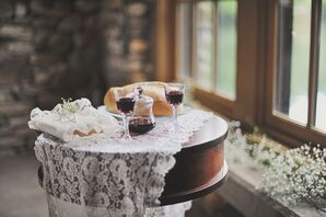 Rustic Burlap and Lace Reception Decor