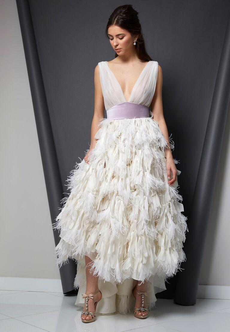 Randi Rahm Spring 2020 Bridal Collection feathered wedding dress with purple sash and high-low hem