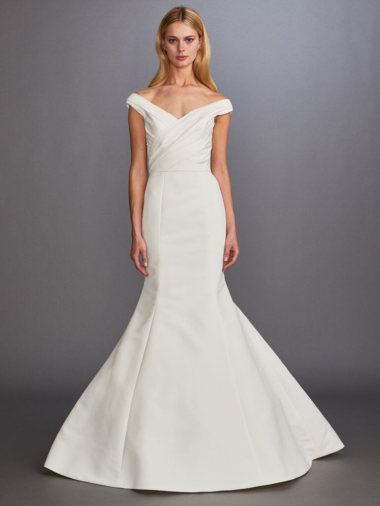 Allison Webb Fall 2019 Bridal Collection off-the-shoulder fit-and-flare wedding dress