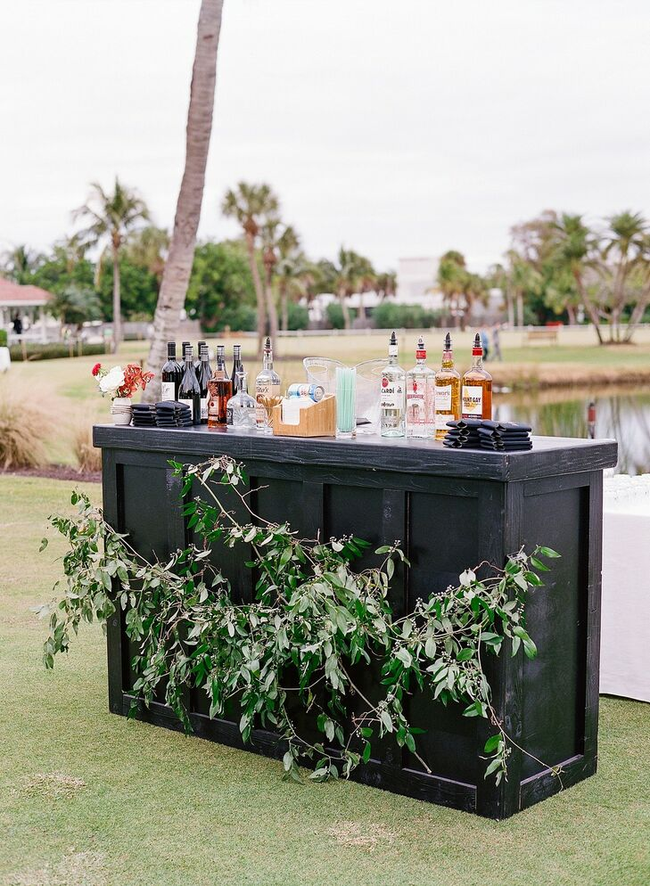 Modern Black Bar for Wedding at The Gasparilla Inn in Boca Grande, Florida