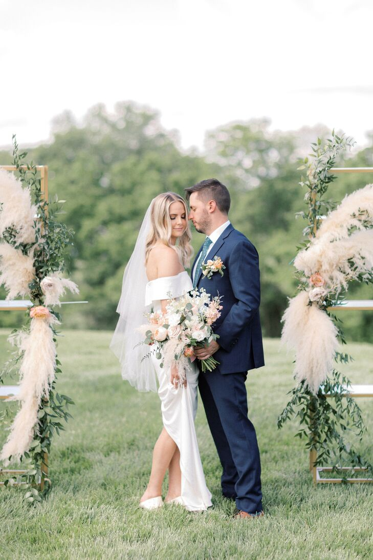Couple Portraits with Pampas Grass Floral Arrangements