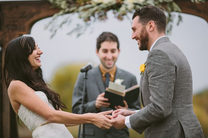 The day started off with an intimate ceremony overlooking Emerson Pottery's quaint pond. To make the proceedings feel more personalized, the couple had a close friend officiate and invited two close friends to choose and read the readings.