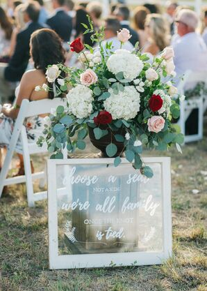 Rustic Welcome Sign with Arrangement of Hydrangeas and Roses
