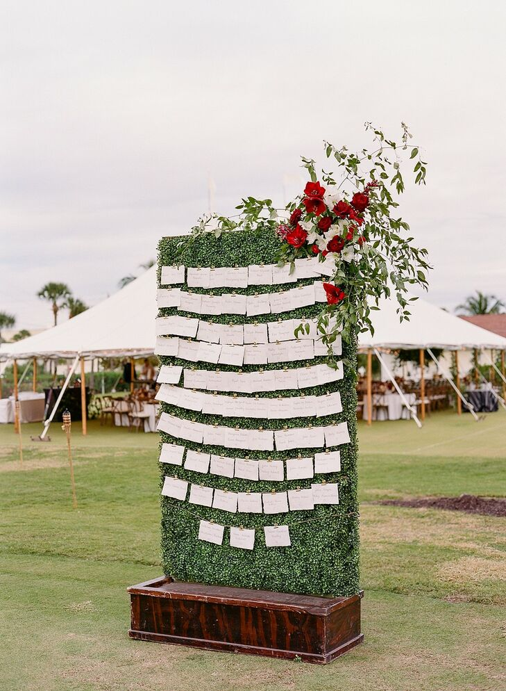 Seating Chart Display for Wedding at The Gasparilla Inn in Boca Grande, Florida