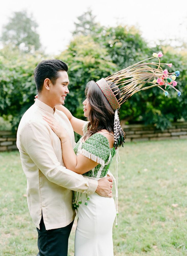 Couple in Traditional Filipino and Mizo Attire for Wedding  at The Winslow in Baltimore, Maryland