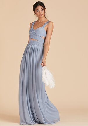 Birdy Grey Elsye Mesh Dress in Dusty Blue Sweetheart Bridesmaid Dress