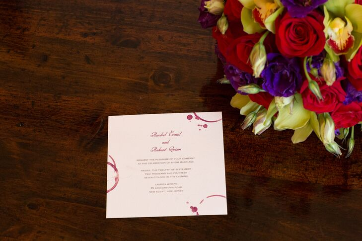 As a nod to the wedding's vineyard setting, Rachel and Robert had their wedding invitations designed with a decorative wine stain pattern.