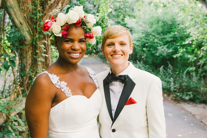 Ericka wore a bold flower crown of white and red roses.