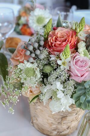 Colorful Flower Centerpiece in Basket