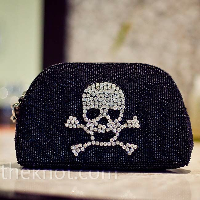 Even Erica's clutch with a rhinestone skull and crossbones fit the theme.