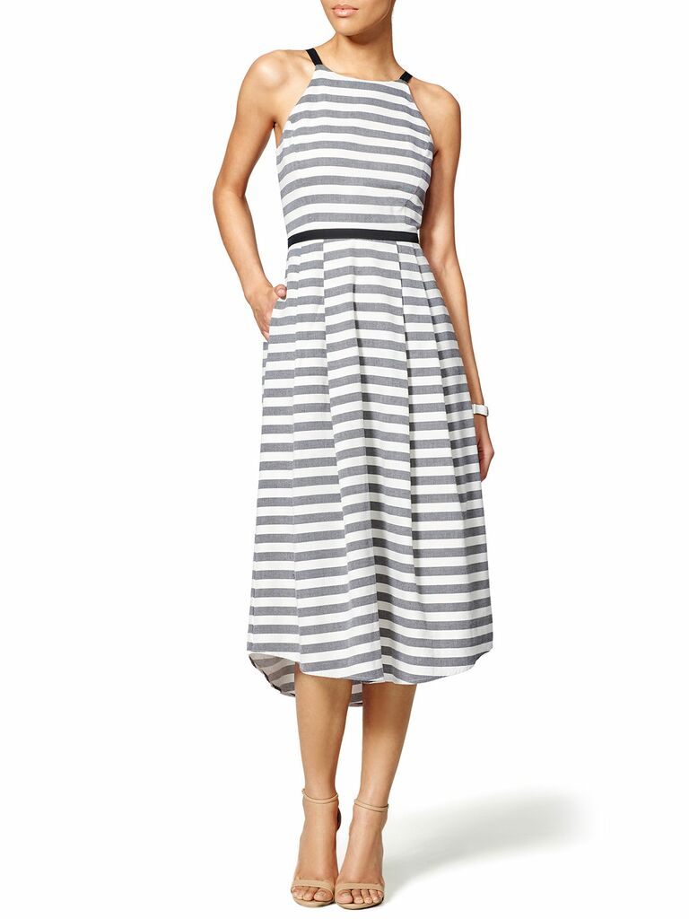 gray and white striped maxi