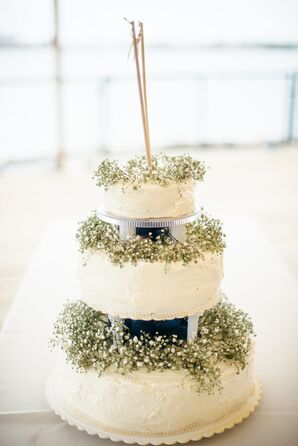 Ivory Three Tier Wedding Cake with Baby's Breath