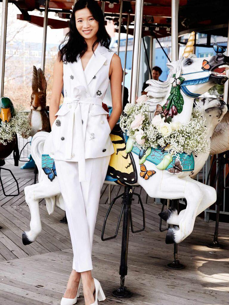bridal vest and trouser pantsuit