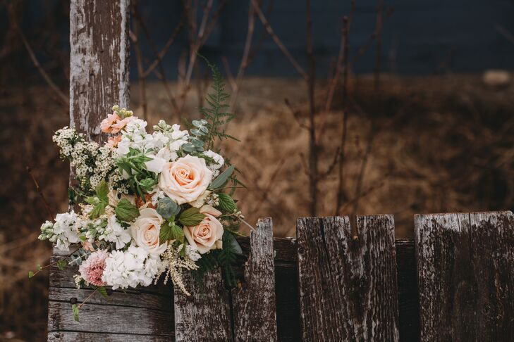 Rustic Blush Rose, Eucalyptus and Wax Flower Bouquet