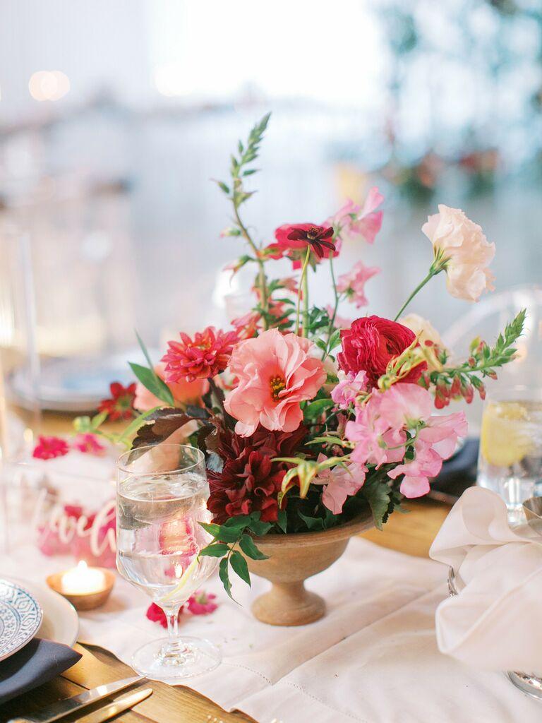 spring wedding centerpieces monochromatic pink arrangement