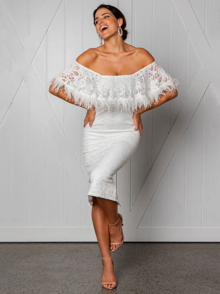 Grace Loves Lace Fall 2019 Bridal Collection off the shoulder fitted mini dress with feather detail