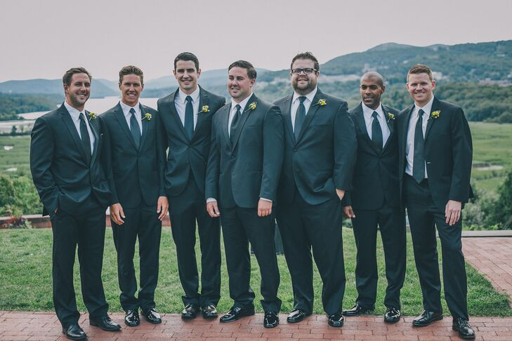 Groomsmen Dressed in Matching Tuxedos