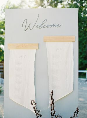 Simple Seating Chart with Paper Scrolls and Calligraphed Sign