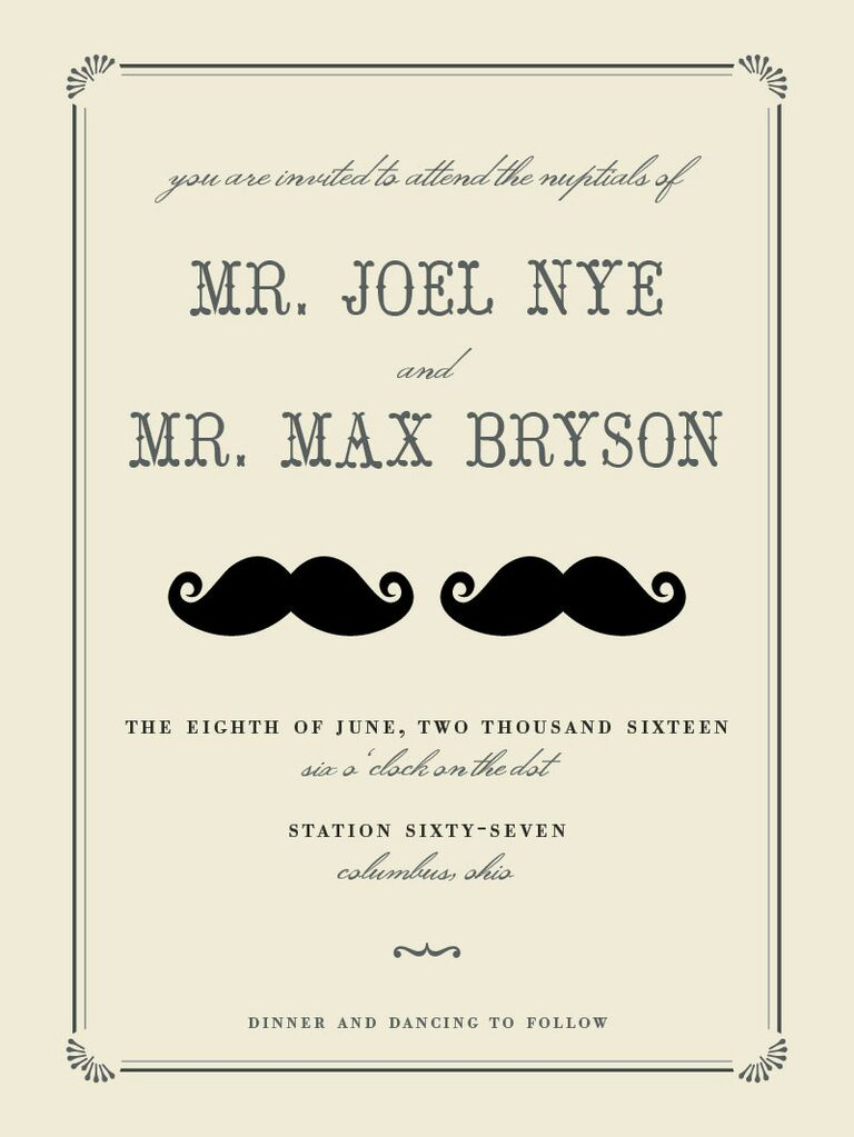 mustache printable wedding invitation from minted
