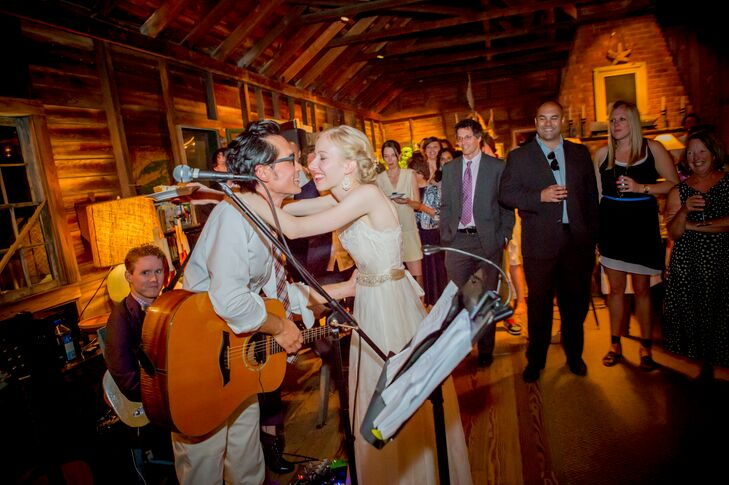 At the reception, Andrew surprised Aubrey by serenading her with a few songs.