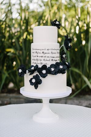 Dramatic Black-and-White Wedding Cake With Song Lyrics